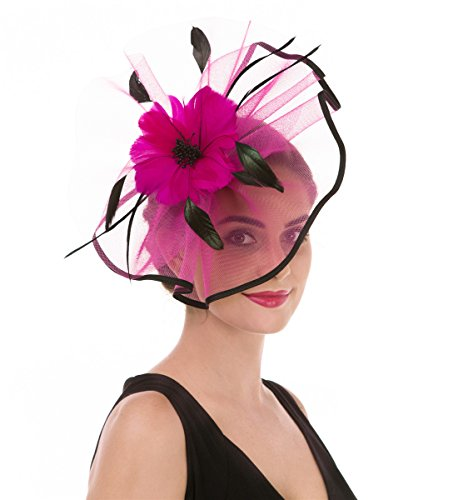 SAFERIN Fascinators Hat Flower Mesh Ribbons Feathers on a Headband and a Clip Tea Party for Girls and Women (TA1-Rose Pink+Black)