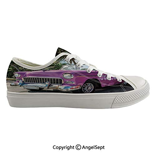 (Durable Anti-Slip Sole Washable Canvas Shoes 16.53inch Classic Colored Cabriolet Car Parked on The Beach in Cuba Seaside Exotic Trees Print Decorative,Violet Green Flexible and Soft Nice Gift )