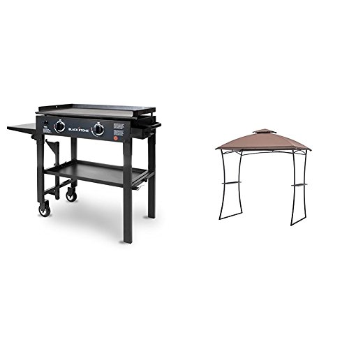 Blackstone 1517  28 inch Outdoor Flat Top Gas Grill Griddle Station - 2-burner - Propane Fueled - Restaurant Grade - Professional Quality & Sunjoy Large Alton Grill Gazebo, 7.6' by 4.8', Brown by