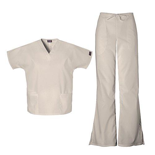 (Cherokee Workwear Women's 4700 Top & 4101 Pant Medical Uniform Scrub Set (Khaki - Medium))