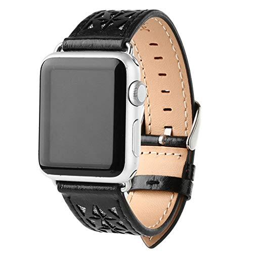 Fine Compatible Apple Watch Series 1/2/3/4 42/ 44mm Unique Design Openwork Carving Luxury Leather Denim Smart Bracelet Strap (Black) ()