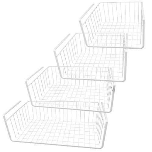 Southern Homewares White Wire Under Shelf Storage Basket, 4-Piece Set.