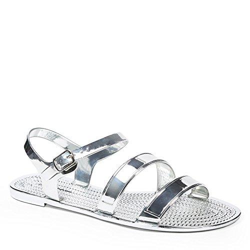 Ideal Shoes Sandalen Flache Lack Sandra Silber