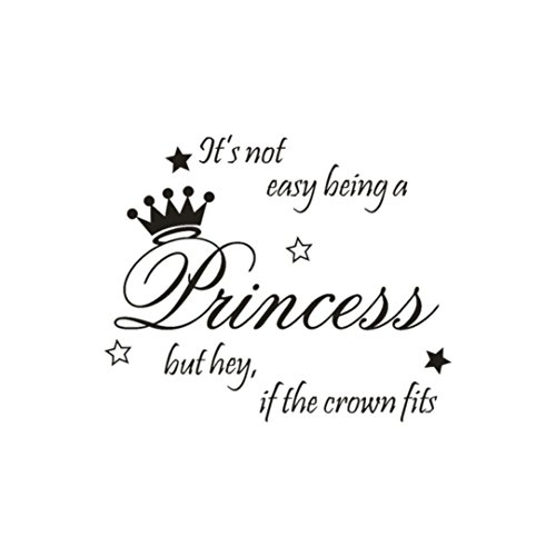 YJYdada Beautiful Princess Crown Wall Sticker Bedroom Decor Vinyl Decal Die Cut 55cm x 45cm (Black)