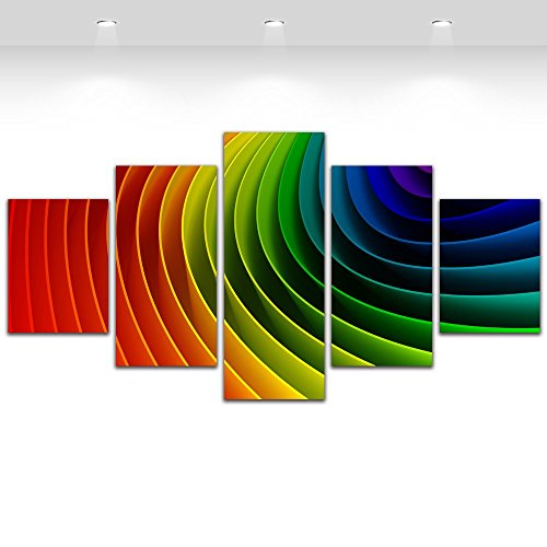 Abstract Rainbow Paintings 5 Pieces Canvas Art Wall Decor
