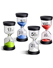 EMDMAK Sand Timer Colorful Hourglass Sandglass Timer 1 min/3 mins/5 mins/10 mins/15 mins/30 mins Sand Clock Timer for Games Classroom Home Office