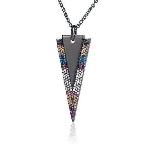 Karseer Simple Inverted Triangle Multicolor Zircon Crystal Geometry Layered Pendant Necklace Shiny Black Arrowhead Necklace for Women Girls, 24