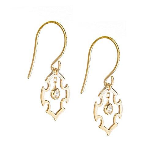 14k Yellow Gold Dangle Fancy Cross and Cubic Zirconia Earrings French Wire