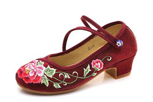 Style and Embroidered Dance Shoes autumn Shoes Antique Claret summer Cloth Shoes Flats Spring Shoes shoes Embroidered Shoes Chinese RFF Ballet Espadrilles Stage Women's 7qEwxP4na1