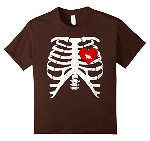 Kids Skeleton Rib Cage TShirt Halloween Costume WOODCHUCK Lovers 10 Brown