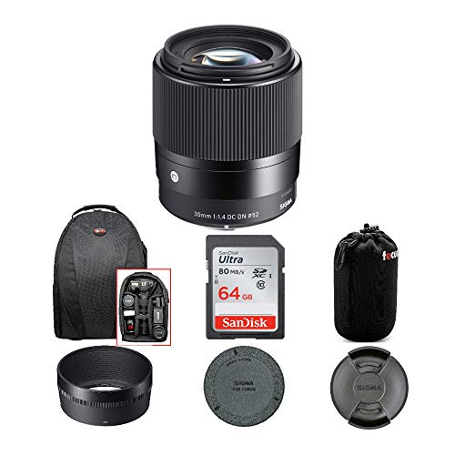 Sigma 30mm f/1.4 DC DN Contemporary Lens for Canon EF-M with 64GB SD Card and Travel Bundle (4 Items)