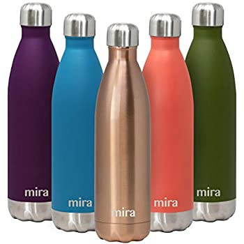 MIRA 25 Oz Stainless Steel Vacuum Insulated Water Bottle | Double Walled Cola Shape Thermos | 24 Hours Cold, 12 Hours Hot | Reusable Metal Water Bottle | Leak-Proof Sports Flask | Rose Gold