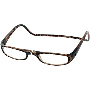 Clic Euro Single Vision Half Frame Designer Reading Glasses, Tortoise, +2.50