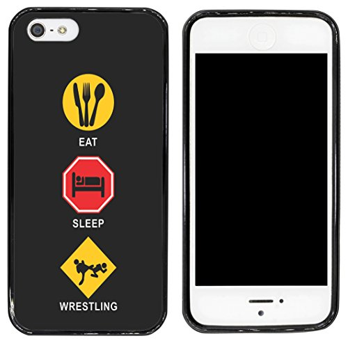 Rikki Knight Cell Phone Case for Apple iPhone 5/5s - Black - Eat Sleep Wrestling (Wrestling Case Iphone 5s)