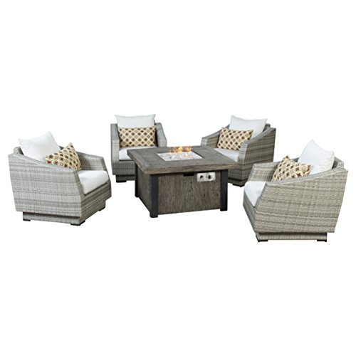 RST Brands Cannes 5 Piece Fire Chat Set, Moroccan Cream