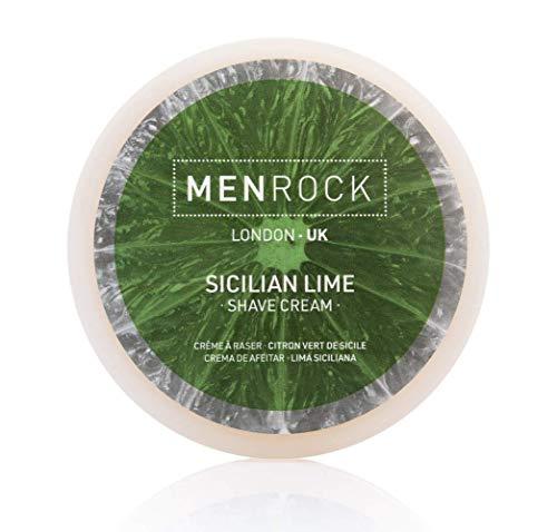 Men Rock Sicilian Lime Shaving Cream - Non Aerosol Shaving Cream with Coconut Oil, Premium Shaving, Moisturizing Shaving Cream for Men, Scented Shaving Cream - Travel Shave Cream, 3.4 Oz.