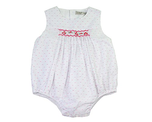 Phlona Baby Girls' Smocked Bubble Bodysuit Pink