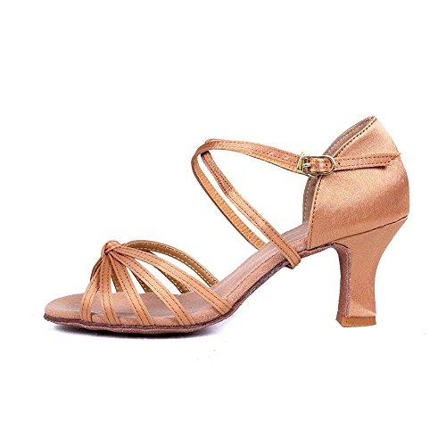 Chaussures de heeled femmes d'Amérique latine Tango YFF Vente Pu danse Bal Satin des 2 Beige xqT1Y0