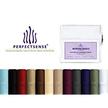 PerfectSense Basics 4pc Bed Sheet Set, Luxury Soft, Deep Pocket & Wrinkle Free - Queen, Eggplant