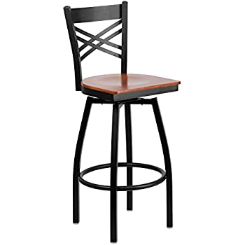 Flash Furniture HERCULES Series Black u0027u0027Xu0027u0027 Back Swivel Metal Barstool - Cherry  sc 1 st  Amazon.com & Amazon.com: Flash Furniture HERCULES Series Black Ladder Back ... islam-shia.org