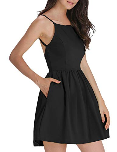 FANCYINN Women's Black Short Dress Spaghetti Strap Backless Mini Skate Black Dresses L