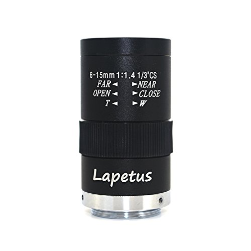 Lapetus 6-15mm 1/3 F1.4 CS Mount Varifocal CCTV Manual Camera Lens ()