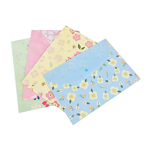LONG7INES Cute Floral Printed File Folder, A4 Letter Document Organizer, Filing Bag with Snap Button Photo #5