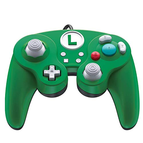 Nintendo Switch Super Mario Bros Luigi GameCube Style Wired Fight Pad Pro Controller by PDP, 500-100-NA-D4