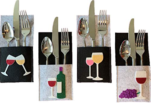 - Wine Lover Decor for Tasting or Elegant Party. Silverware Holders Made of Sturdy Polyester Felt with Vivid Wine Images. Use for Entertaining, House Warming and Hostess and Holiday Gifts.