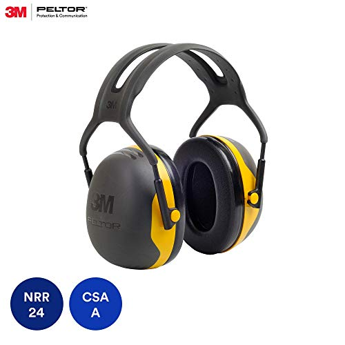 3M Peltor X-Series Over-the-Head Earmuffs, NRR 24 dB, One Size Fits Most, Black/Yellow X2A (Pack of 1)