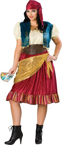 InCharacter Costumes Women's Plus Size Gypsy Costume,  Tan/Blue/Gold/Burgundy, XX-Large