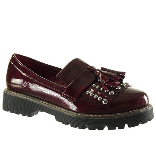 Angkorly Women's Fashion Shoes Mocassins - Slip-On - Studded - Fringe - Shiny Block High Heel 3.5 cm Wine r90f6TRybS