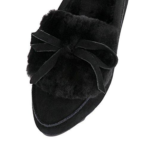 Meeshine Womens Zachte Pluche Voering Winter Slippers Strik Gezellige Slippers Loafers Schoenen Voor Indoor Outdoor Zwart