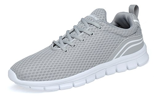 Belilent Men's Running Shoes - Lightweight Breathable Athletic Casual Shoes Fashion Sneakers,Grey/White,44 M EU / 10.5 D(M) US - Mens Style Running