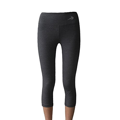 Women's Compression Capri's (Heather Gray - L) - Body Slimming for Yoga, Hidden Pocket, Amazing Workout Pants