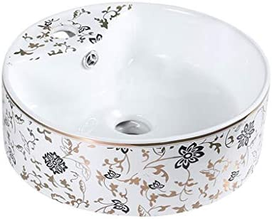 BoPin バスルームの洗面台、(タップ無し)ラウンドセラミック流域家庭シンク化粧技術の単一流域、利用可能な2色 ベッセルシンクシンク (Color : B)