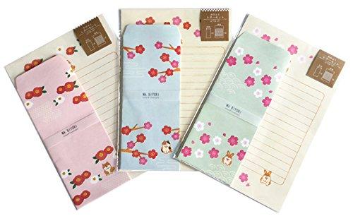 Cute Japanese Pattern Paper Stationery Envelope 3 PCS Light Color (Pink Green Blue) Cherry Blossom, Plum, Camellia, Three Colors cat, Shiba Dog, Rabbit (Blossom Three Light)