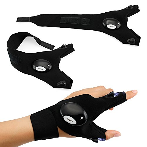 Oct17 Outdoor Activities Cycling Magic Strap Rescue Sporting Gloves 2 LED Flashlight Torch HANDY MECHANIC TOOL -Left Hand - Magic Tool