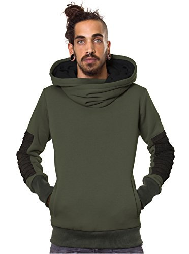 Street Habit Plazmalab Men's Hoodie Takeda Japanese Architecture Inspired Heavy Army Green Pullover