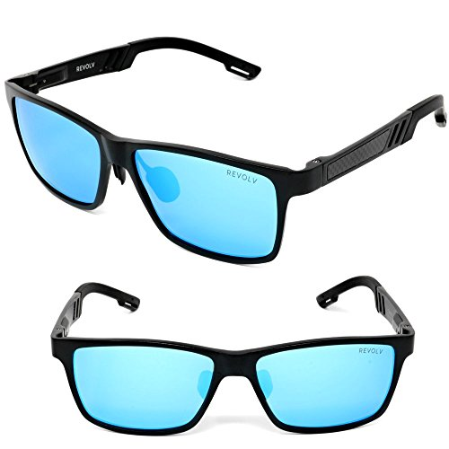 REVOLV Polarized Men's Sunglasses with Adjustable Aluminum Frame 146mm for Medium / Wide Faces (Matte Black Frame / Blue Mirror - Lenses Black With Blue Sunglasses