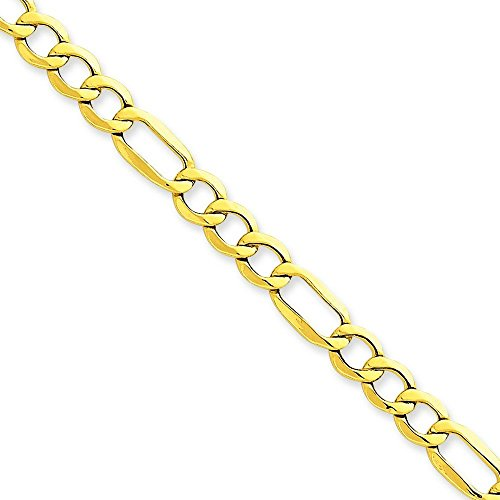 "6,6 carats 14 mm Semi-solide-Maille Figaro Bracelet - 8 ""- JewelryWeb"