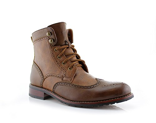 Polar Fox Jonah MPX808567 Mens Casual Wing Tip Perforated High-Top Brogue Boots – Brown, Size 7Polar Fox Jonah MPX808567 Mens Casual Perforated High-Top Red Brogue Wingtip Dress Boots by Polar Fox