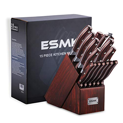 Knife Set, 15-Piece Kitchen Knife Set with Block Wooden, Manual Sharpening for Chef Knife Block Set, German Stainless Steel, ESMK (15 PCs Knife Block Set) by ESMK (Image #9)