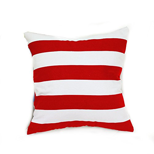 25 Canvas (TAOSON Home Decorative Cotton Canvas Square Toss Pillowcase Cushion Cover Stripe Throw Pillow Case with Hidden Zipper Closure Only Cover No Insert - Red 25