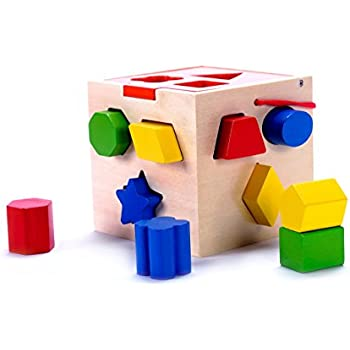 Classic Wooden Shape Sorter Cube Toy w/ Hinged Lid | 10 Color Solid Wood Geometric Shape Pieces | Developmental Toy for Preschool Toddlers, 1, 2 & 3 Year Old Boys & Girls