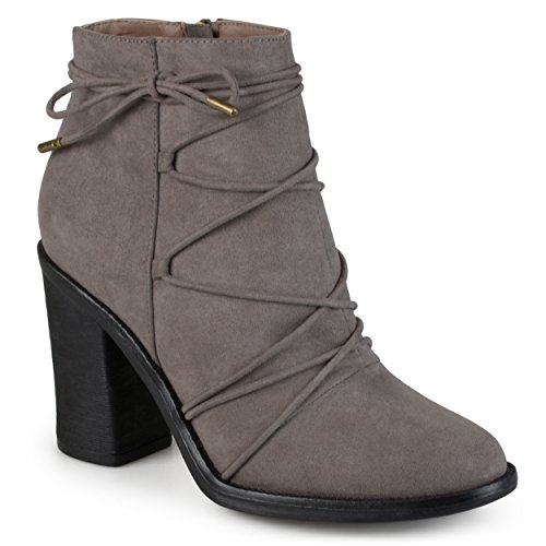 Journee Collection Womens High Heeled Round Toe Chunky Heel Booties Grey 1jEpJn