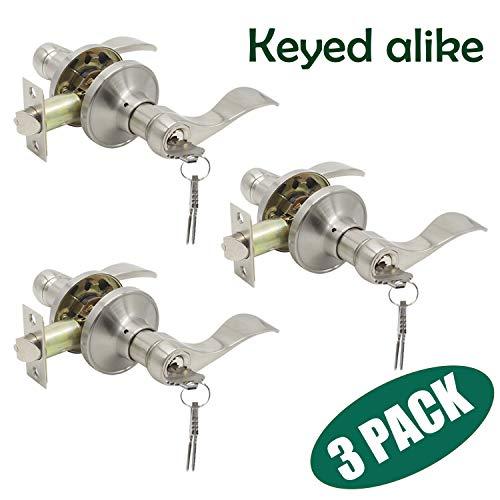 Probrico 3Pcs Satin Nickel One Keyway Entrance Handles Hardware Entry with Key Levers Keyed Alike Door Lockset