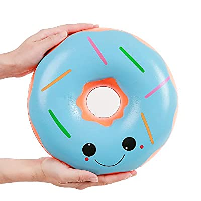 Anboor 9.8 Inches Squishies Jumbo Donut Kawaii Scented Soft Slow Rising Doughnut Squishies Stress Relief Kids Toy Gift Collection Decorative Props Blue: Toys & Games