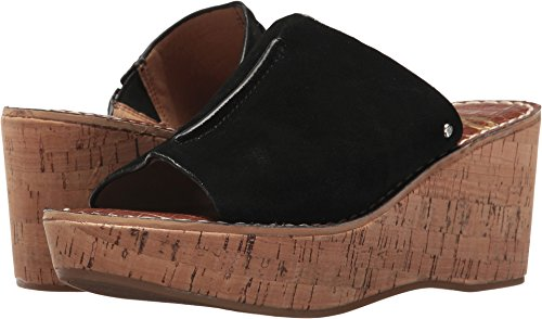 Black Leather Suede Sandal Women's Ranger Wedge Edelman Sam Velutto XgTaPP