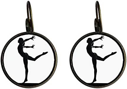 GiftJewelryShop Bronze Retro Style Olympics female do gymnastic Dangle Leverback Earrings 18mm diameter